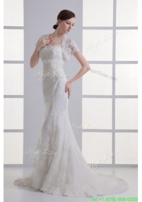 2016 Spring Mermaid Sweetheart Organza Brush Train Zipper Up Wedding Dress with Appliques