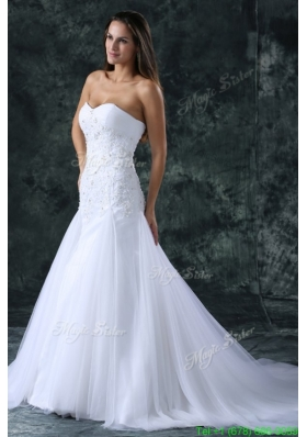 2016 Summer A-Line Sweetheart Beading Tulle Wedding Dress with Court Train