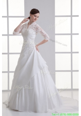 2016 Summer A-line V-neck Long Sleeves Taffeta Court Train Wedding Dress