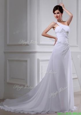 2016 Summer Elegant Coulmn One Shoulder Wedding Dress with Appliques