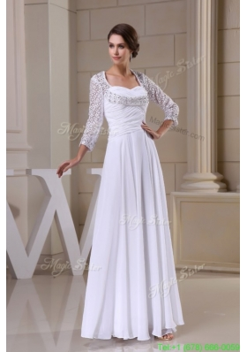 2016 Summer Empire Sweetheart Zipper Up Beading and Ruching Wedding Dress