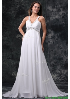 2016 Summer Empire V-Neck Beading and Ruching Zipper Up Chiffon Wedding Dress