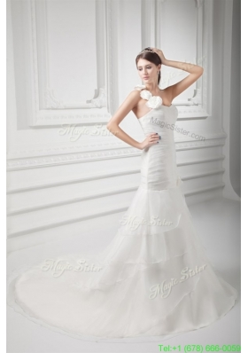 2016 Summer Mermaid One Shoulder Flowers Wedding Dress with Court Train