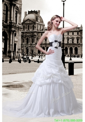 2016 Summer Princess Sweetheart Sash Court Train Wedding Dresses with Ruching