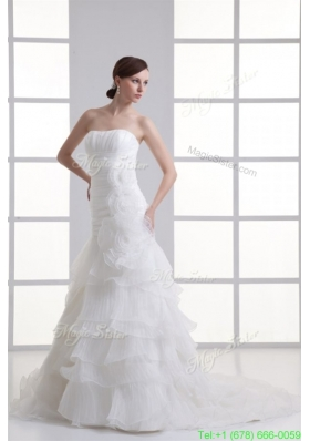 2016 Summer Strapless Hand Made Flowers Ruffled Layers Ruching Court Train Wedding Dress