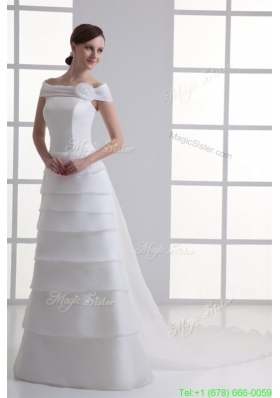 A Line Off The Shoulder Organza Wedding Dress with Watteau Train