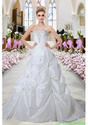 Classic A Line Strapless Appliques Court Train Wedding Dresses