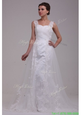 Classic A Line Straps Brush Train Appliques Tulle Wedding Dress