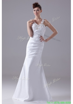 Classic Beading Decorated Straps Sheath Floor length Bridal Gown with Ruching