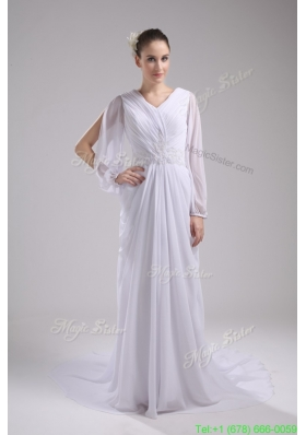 Classic Empire V neck long Sleeves Chiffon Wedding Dress in Spring
