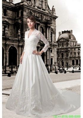 Classic Lace V Neck Chapel Train A Line Wedding Dress with Long Sleeves
