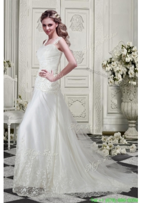 Classic Low Price Straps Wedding Dresses with Appliques and Lace
