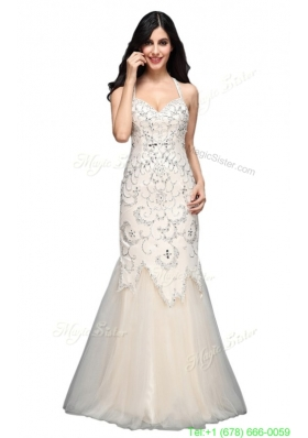 Classic Mermaid  Halter Floor-length Tulle Criss Cross Wedding Dress