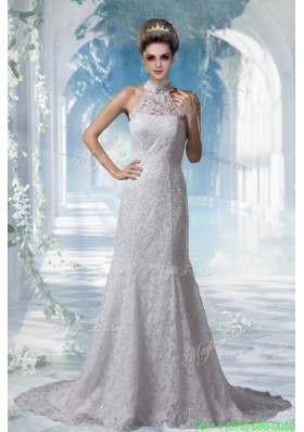 Classic Mermaid Halter Top Lace Court Train Wedding Dress