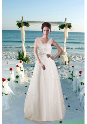 Classic Princess Brush Train Beading Wedding Dresses with V Neck