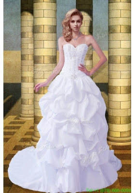 Classic Princess Sweetheart Wedding Dresses with Court Train
