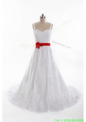 Classical A Line Straps Wedding Dresses with Belt and Appliques