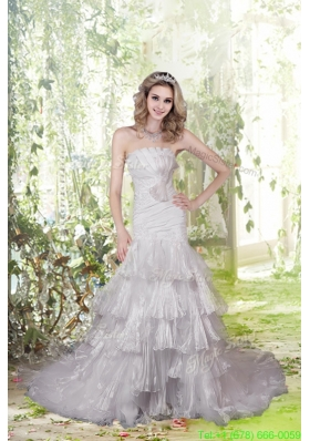 Eelgant Mermaid Strapless Court Train Wedding Dresses with Appliques