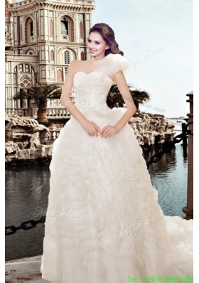 Elegant Beading A Line Chapel Train Wedding Dress with One Shoulder