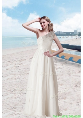 Empire One Shoulder Beading Wedding Dress with Floor Length