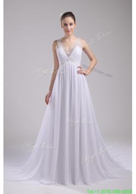 Empire V neck Ruching and Appliques Chiffon Wedding Dress for Cheap
