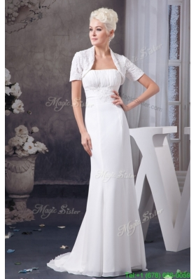 Fall Appliqued and Ruched Wedding Dresses with Brush Train and Jacket