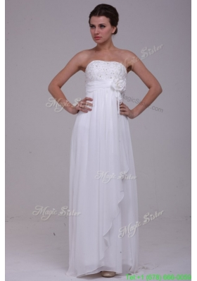 Fall Column Strapless Chiffon Floor length Beading Wedding Dress