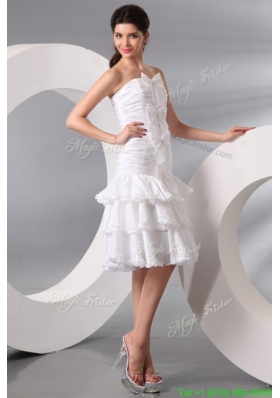Fall Column Strapless Knee length Wedding Dress with Bowknot and Ruche