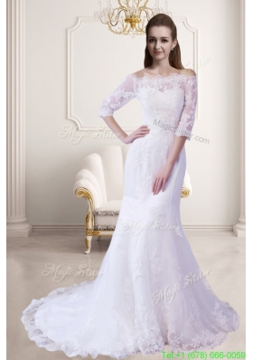 Fall Elegant Mermaid Off The Shoulder Wedding Dress with Half Sleeves