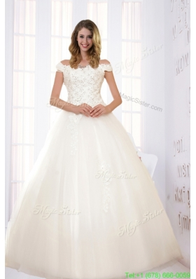 Fall Modest Ball Gown Off The Shoulder Wedding Dress with Appliques