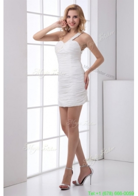 Fall White Column One Shoulder Mini-length Wedding Dress with Appliques