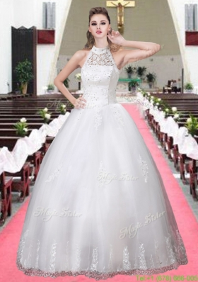 Fashionable Halter Ball Gown Appliques Wedding Dresses with Beading