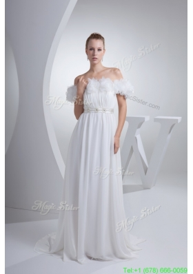 Hand Made Flwoers Off The Shoudler Bridal Dress with Beaded Sash