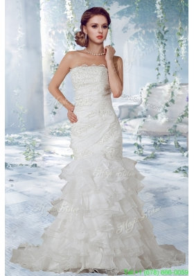 New Arrival Beautiful Lace Court Train Wedding Dress with Strapless