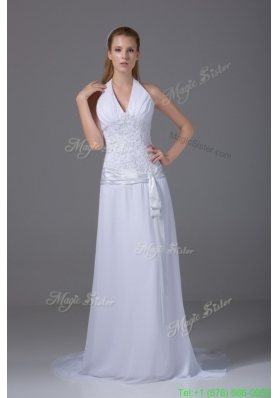 New Arrival Column Halter Ruching and Appliques Wedding Dress with Chiffonc
