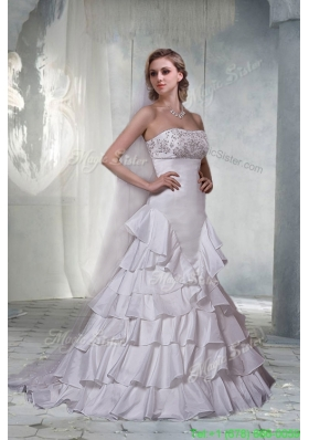 New Arrival Gorgeous A Line Strapless Brush Train Wedding Dresses with Beading