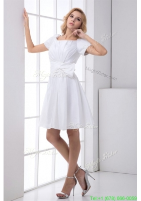 Pretty A line Scoop Short Sleeves Wedding Dress with Ruching