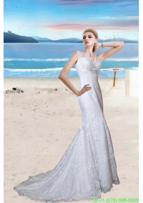 Spring Beautiful Mermaid Lace Beading Wedding Dress with Court Train