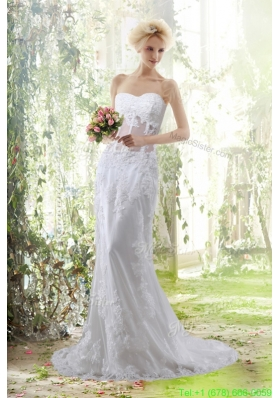Spring Elegant Column Sweetheart Beading Wedding Dresses with Brush Train