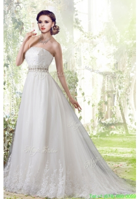 Spring Elegant Lace Strapless Brush Train Wedding Dresses with Beading