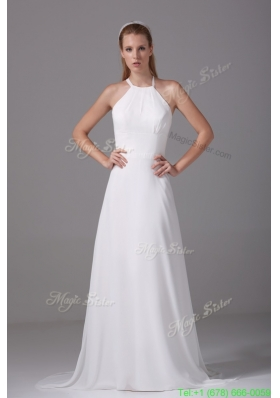 Spring Simple Column Spaghetti Straps Court Train Wedding Dress