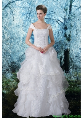 Summer Princess Cap Sleeves Wedding Dress with Sequins Off the Shoulder