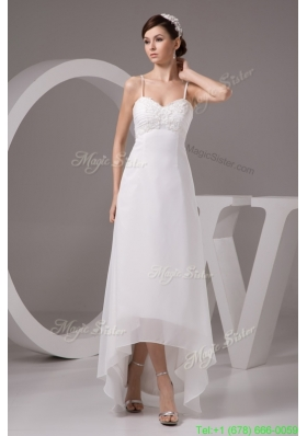 Summer Spaghetti Straps High-low White Wedding Dress with Appliques