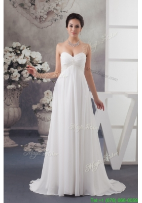 Sweetheart Brush Train Wedding Dress with Beading and Ruche
