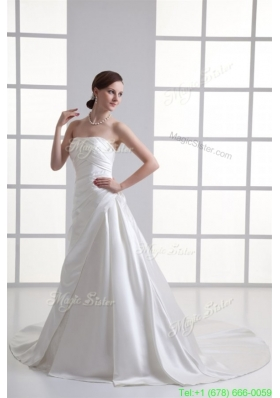 Winter A line Strapless Ruching Chapel Train Satin Wedding Dress