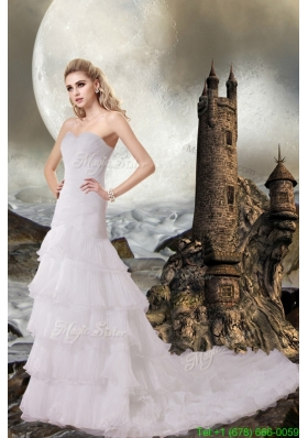 Winter Mermaid Sweetheart Court Train Wedding Dresses with Beach