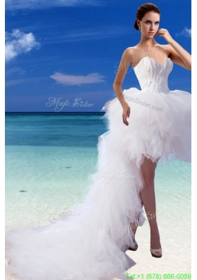 Winter Perfect A Line High Low Sweetheart Appliques Wedding Dresses