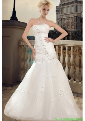 Wonderful Strapless A Line Chapel Train Wedding Dress with Beading