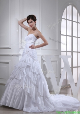 2016 Spring A-line Sweetheart Ruching Ruffled Layers White Wedding Dress