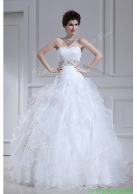 2016 Spring Beautiful A-line Sweetheart Floor-lengthWedding Dress with Ruffles and Appliques